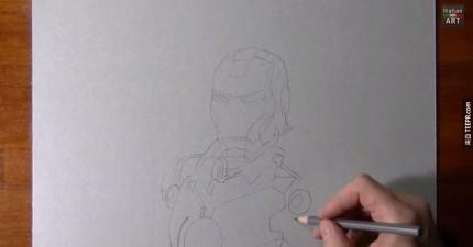 這個人用筆出畫出3D的鋼鐵人