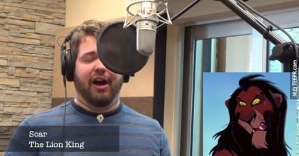 這個天才用21種不同的迪士尼角色聲音唱「Let It Go」。