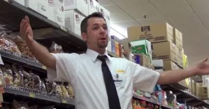 別被這些超級市場裡的員工騙了,他們將要做一件讓每一位購物者都很開心的事情。