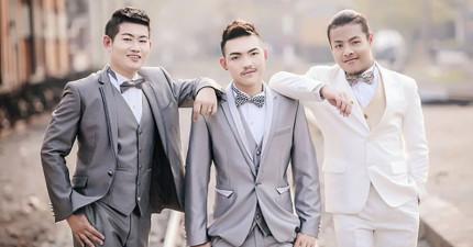 這3位泰國男孩並不是什麼最新男子團體,而是要結為連理的「3位新郎」!