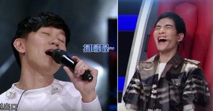 林俊傑自彈自唱趙傳經典《愛要怎麼說出口》,「大走音」不小心讓蕭敬騰笑到失態!