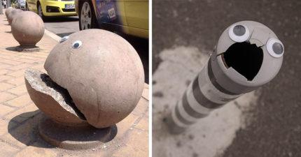 他在城市裡壞掉的地方裝上「小眼睛」,做出比修好還討人喜歡的超可愛人物! (30張)