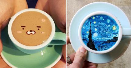 30張會讓人會想要拍照拍到乾掉的「最美咖啡藝術照」!#16咖啡柴犬好可愛啊!
