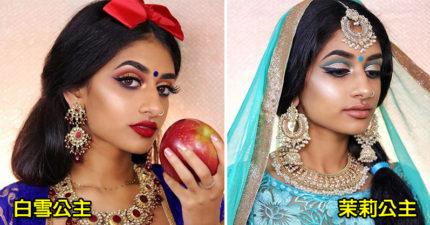 模特兒打破刻板印象,挑戰「印度版」迪士尼公主!貝兒公主穿上紗麗超美!(8張)