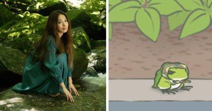 真人版《旅蛙》!網翻出8張「Hebe撞臉蛙蛙對比照」,「100%神複製沉思讀書照」粉絲笑翻:該改名叫田呱呱!