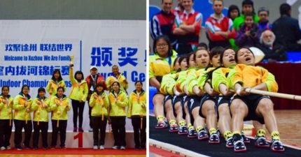睽違4年擊敗中國!台灣女子拔河隊「2:1逆轉中國隊」一舉摘下世界盃金牌!