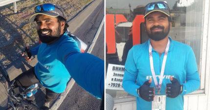 印度哥騎單車4200km到俄羅斯見梅西 剩2天就到「但昨天卻0:3了啊!」