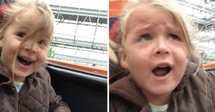 影/4歲小女孩「人生第一次雲霄飛車」 甜笑→表情扭曲飆超齡髒話:Sxxt!
