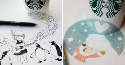 23張療癒系「星巴克杯杯插畫」 每一口咖啡都讓人超幸福♥