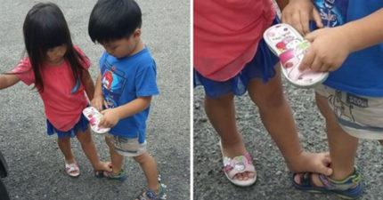 妹妹鞋子進石頭 暖哥哥脫下清理怕妹腳髒「妳踩我!」