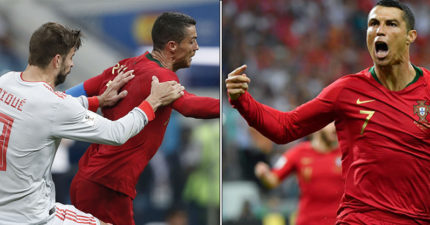 世足/C羅「帽子戲法」黃金踢3球追西班牙 進球瞬間「摸下巴」挑釁梅西
