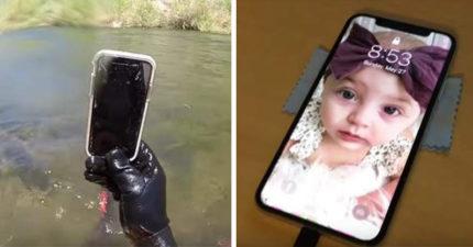 湖中潛水撿到iPhone X!他吹乾開機看到女嬰照秒回撥 失主激動哭了