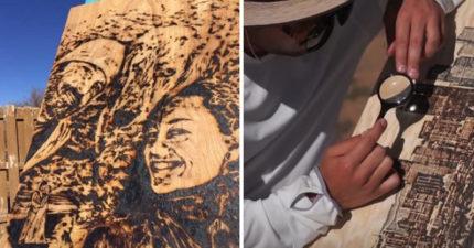 藝術家用「太陽作畫」 放大鏡聚焦陽光燒出最美麗風景!
