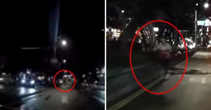 影/晚上開車險撞上人 放慢一看「透明感三寶逆向飄移」超毛!