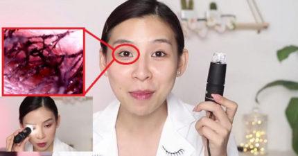 影/YouTuber超近距離觀察臉上彩妝 顯微鏡下「睫毛如恐怖異形」