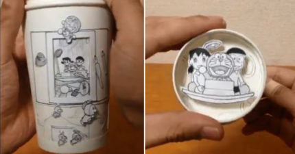 日神人一個紙杯重現《多啦A夢》場面 「旋轉時光機」真的動了起來!