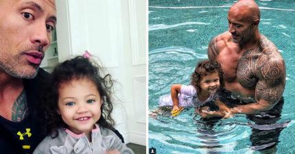 把拔教游泳!女兒一看大肌肌直喊「我喜歡你的XX」巨石強森尷尬到爆