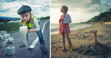 老爸愛上攝影 拖3女兒下水「拍天馬行空家庭照」(15張)