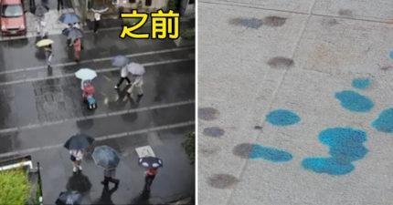 藝術家創作「雨天才會出現」的特殊壁畫 剛下雨腳底秒變「海底世界」網驚呆:台灣超需要!