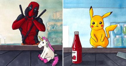 只能買一件商品!藝術家繪出動漫人物「逛超市」的結帳瞬間 龜仙人的「小心機」讓人超害羞