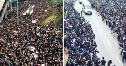 影/反送中遊行讓道救護車 200萬人「瞬間分海」影片曝光…網讚爆:香港人超暖!
