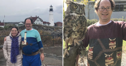 他買膩紀念品決定「手織毛衣」穿去名風景拍照 持續20年狂織140件!