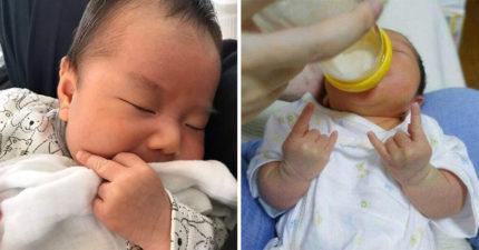遺傳到樂團爸的搖滾魂!「超叛逆寶寶」喝奶專屬手勢超爆笑