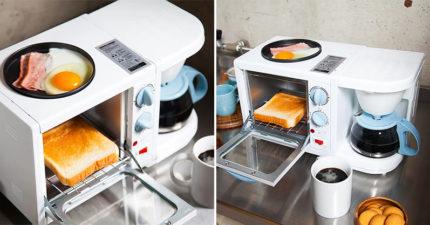 租屋族必備「三合一早餐製作機」!烤麵包「同時煎蛋」10分鐘搞定:懶人福利