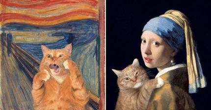 15幅「胖橘貓亂入名畫」的超可愛藝術作品 性感貓皇版《維納斯誕生》!