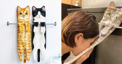 日大推「1:1長型貓咪毛巾」讓貓奴暴動 用主子的「小肚肚來擦臉」超爽!