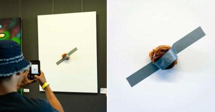 膠帶香蕉還不夠!最新藝術「膠帶漢堡」賣365萬 成功買下還可以做慈善
