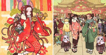 日本繪師畫出《鬼滅之刃》現代風格賀卡 還開放「免費下載」超佛心!