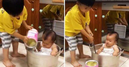 暖哥準備「牛奶浴」疼小妹 直接整罐倒見底...網友:媽媽會瘋掉