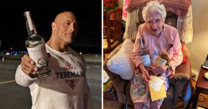 巨石強森「幫101歲粉絲慶生」 手寫祝福還送酒:別一口乾~