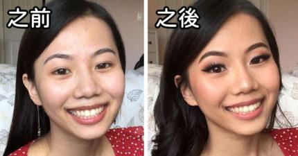 15張「化妝能帶來魔力」的對比照 只是「畫眉毛」就像變了一個人!