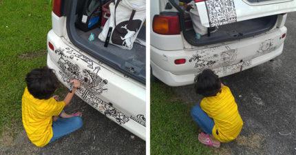 9歲女兒無聊「把車當畫紙」爽塗鴉 爸不生氣「Po網炫耀」超自豪