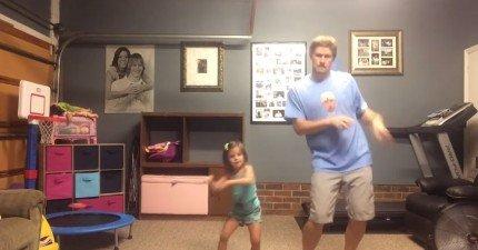 爸爸和女兒跳泰勒絲的Shake-It-oFf