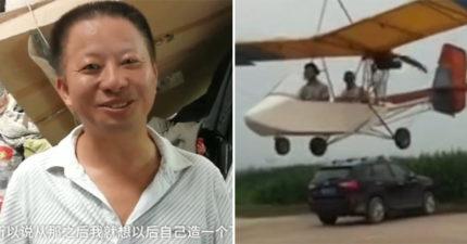 國中畢業農民「網購材料」自製飛機 耗費「16年心血」成功起飛1.5小時…隔天卻被拆
