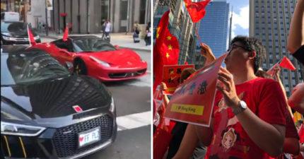 影/瘋狂中國土豪「超速飆法拉利」 干擾「反送中集會」惹眾怒…網:超沒水準!