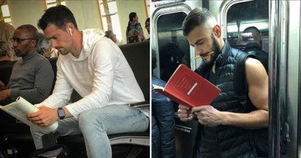 他專門偷拍「最認真看書」的超帥天菜男 襯衫鮮肉用「微皺眉表情」閲讀太性感!