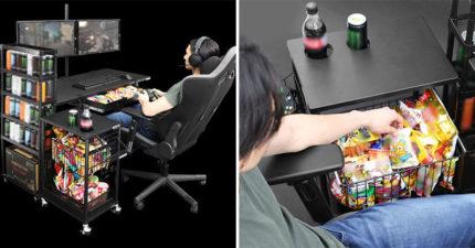 電玩宅必備!日本推出超夢幻「打遊戲專用桌」超貼心合體零食、飲料架