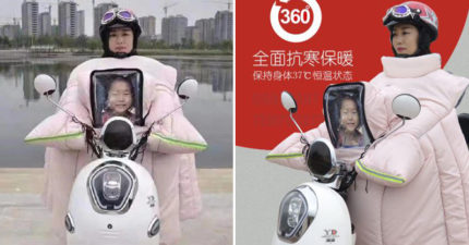 中國推「超獵奇雨衣」體溫永保37度 遠看就像「捧遺照騎車」路人全嚇壞!