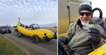 男子把車改裝成「巨型香蕉」出遊遇臨檢 警察「偷夾600」贊助他圓夢!