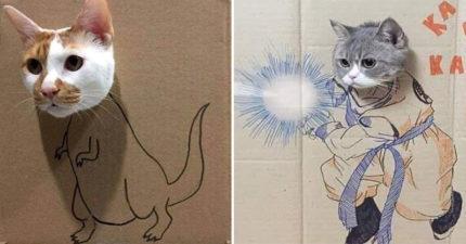 整貓新招「貓咪紙娃娃」幾乎一定會上鉤 奴才「發揮天分」讓貓咪變恐龍!