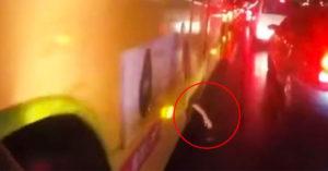 公車縫冒出「蒼白鬼手」騎士嚇到差點摔車 真相曝光笑翻