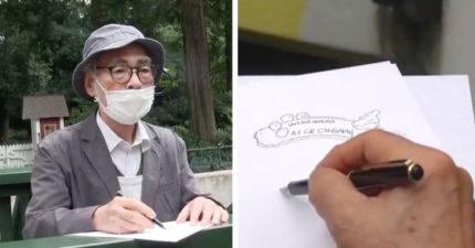影/仍然超會畫!宮崎駿罕見「現場即興素描」 設計招牌成品太萌啦